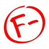 Fail. Grade result F-. Hand drawn vector grade with minus in circle. Royalty Free Stock Photography