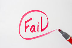 Fail hand writing on paper Stock Photos