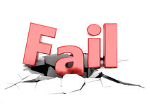 Fail sign. 3d illustration of fail sign on cracked white background vector illustration