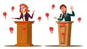 Fail Speech Vector. Businessman, Woman. Unsuccessful Messaging, Presentation. Bad Feedback. Having Tomatoes From Crowd. Tribune, Rostrum With Microphone vector illustration
