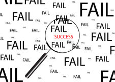 Fail and success concept with magnifier. Stock Image