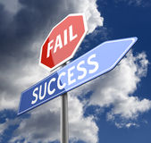 Fail Success Words on Road sign Royalty Free Stock Image