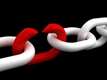 Fail teamwork. Fine 3d image of white chain and weak red point Stock Photos