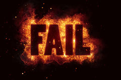 Fail text flame flames fire burn burning explosion. Hot Royalty Free Stock Image