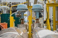 Fail to close type of actuated control valve in oil and gas central processing platform. Valve connected in parallel to split control method by programmable stock images