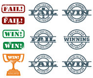Fail and Win Stamps Stock Photos