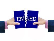 Failed. Art work of word failed with two business hand royalty free stock photography