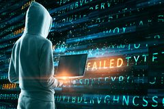 Failed attack background. Hacker with laptop using creative hacking background. Failed attack concept vector illustration
