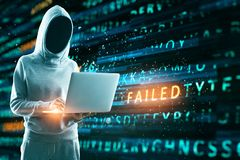 Failed attack background. Hacker with notebook laptop using creative hacking background. Failed attack concept stock illustration
