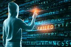 Failed attack background. Hacker using creative hacking background. Failed attack concept royalty free illustration