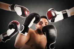 Failed boxer as businessman Stock Photos