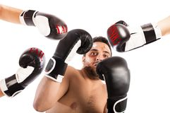 Failed boxer as businessman Stock Images