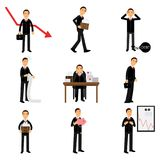 Failed businessman character set, business and financial failure  Stock Photo