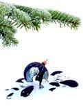 Failed christmas. Christmas tree and broken glass bauble on white, failed christmas Royalty Free Stock Image