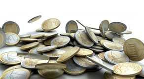 Failed Economies. A collapsing pile of various Euro coin tender Royalty Free Stock Image