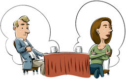 Failed First Date. A cartoon man and woman fail to connect on a first date Stock Image