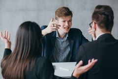 Failed job interview short tempered applicant stock photography
