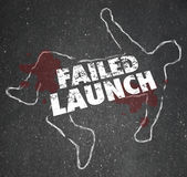 Failed Launch Unsuccessful New Business Startup Chalk Outline De Stock Images