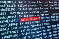 Failed password for root on server 2 Stock Image