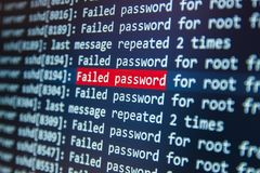 Failed password for root on server Stock Photo