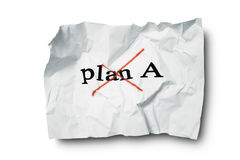 Failed plan A. Crumpled paper with a failed plan Royalty Free Stock Photos
