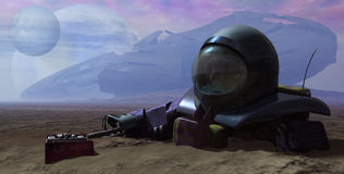 Failed Space Mission. A grim science fiction scene depicting a failed space mission Stock Illustration