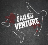 Failed Venture Chalk Outline Startup Business Dead Body Killed. Failed Venture words on a chalk outline as a dead or killed unsuccessful startup business venture Royalty Free Stock Images