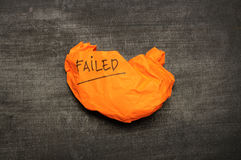 Failed writing on crumpled paper Stock Photography