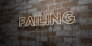 FAILING - Glowing Neon Sign on stonework wall - 3D rendered royalty free stock illustration Stock Photos