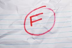 Failing Grade. A circled F (failing) grade on wrinkled lined paper royalty free stock photography