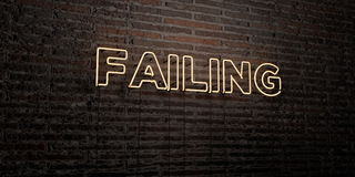FAILING -Realistic Neon Sign on Brick Wall background - 3D rendered royalty free stock image Royalty Free Stock Image