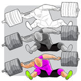 Failing weightlifter. Vector illustration of a weightlifter failing to successfully carry a weight during a competition Stock Images