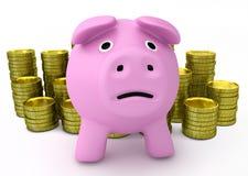Faillissementsconcept - droevig spaarvarken met gouden muntstukken stock illustratie