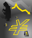 Faillite de Yens illustration de vecteur