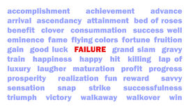 Failure. Several words like Accomplishment and Success surround the word that is the antonym in red letters: Failure vector illustration