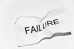 Failure. White crumpled paper with the word failure Royalty Free Stock Photo