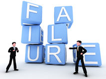 Failure. First image of a 3 series in which two executives face failure and they overcome the situation throughout team work. all represented by the words form stock illustration