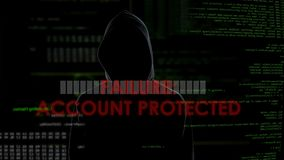 Failure, account protected, unsuccessful hacking attempt to steal personal data. Stock footage stock footage