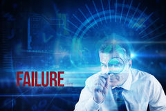 Failure against blue technology interface with dial Stock Photography