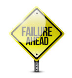 Failure ahead road sign illustration design. Over white Royalty Free Stock Photography