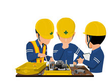 Failure analysis by three workers. Workers are analyzing problem about machine Stock Image