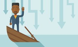 Failure black businessman standing on a sinking. A failure black businessman standing on a sinking boat with those arrows on his back pointing down symbolize royalty free illustration