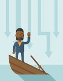 Failure black businessman standing on a sinking Stock Photo