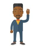 Failure black businessman standing waving his hand Royalty Free Stock Photography