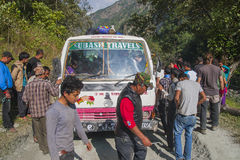 Failure of the bus on a bumpy road Nepalese Stock Photos