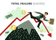Failure Business Composition. Colored flat failure business composition with total failure business description and businessman falls vector illustration Royalty Free Stock Image