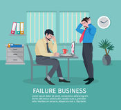 Failure Business Concept. With frustrated people in office interior vector illustration Royalty Free Stock Photo