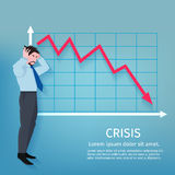 Failure Business Poster. Frustrated businessman with descending finance chart crisis poster vector illustration Royalty Free Stock Photography