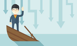 Failure chinese businessman standing on a sinking vector illustration