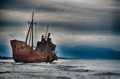 Failure concept, shipwreck. Abandoned ship on the beach, failure concept Royalty Free Stock Photography